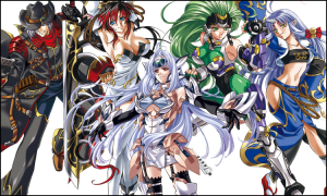 EF1's cast minus Reiji and Xiaomu. From L to R: Haken Browning, Kaguya Nanbu, KOS-MOS, Aschen Broedel, and Suzuka-hime