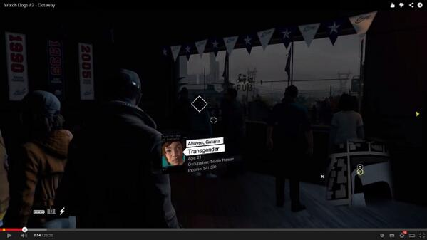 """Transgender"" descriptor in Watch Dogs"