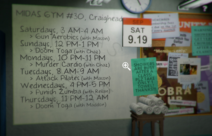 "Screencap from ""Rinse and Repeat"" -- gym schedule"