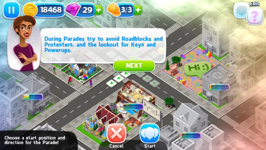 "Pridefest screenshot establishing a pride parade as a way to distribute ""fun"""