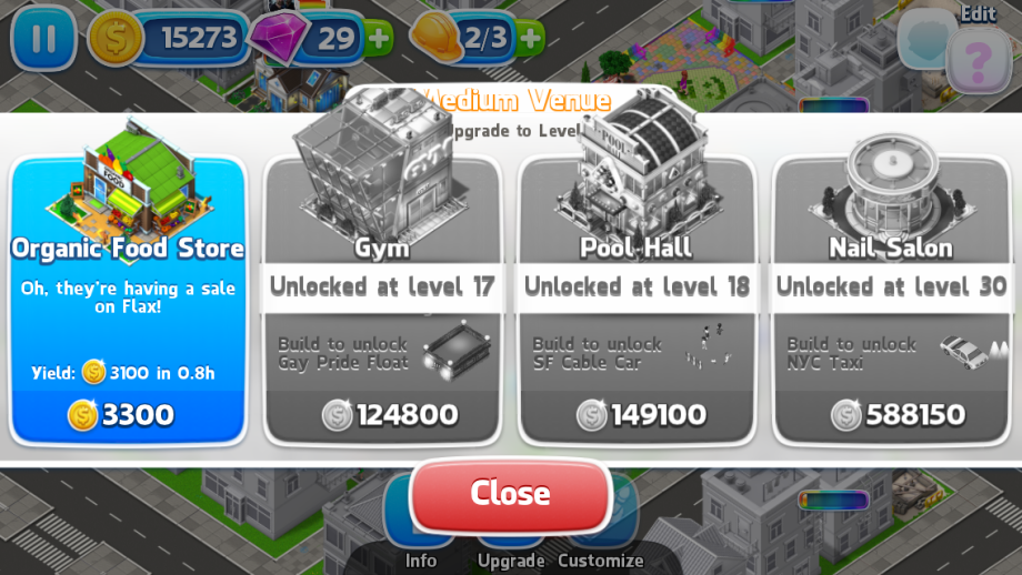 Screenshot of Pridefest, where a building can be upgraded to an organic food store.