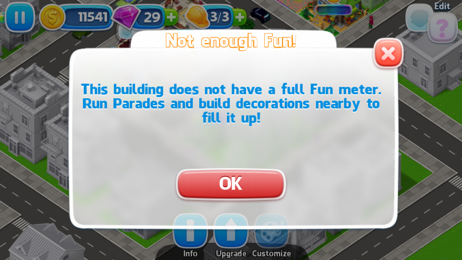 "Image of Pridefest game asking for more ""fun"" before upgrading a building"