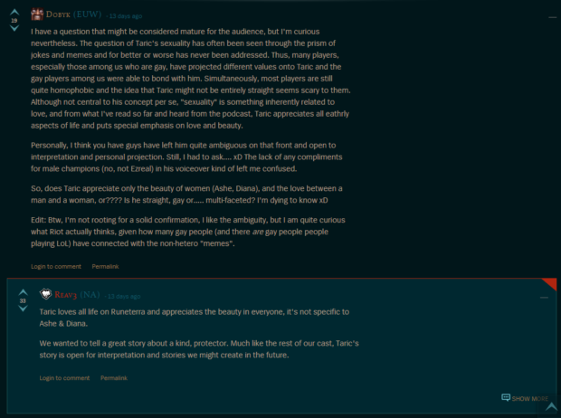 A question about the interpretation of Taric's sexuality in League canon