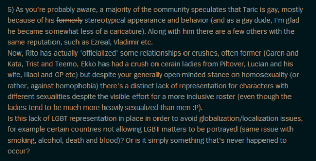 An unanswered question about Taric's sexuality, from his Q&A forum thread